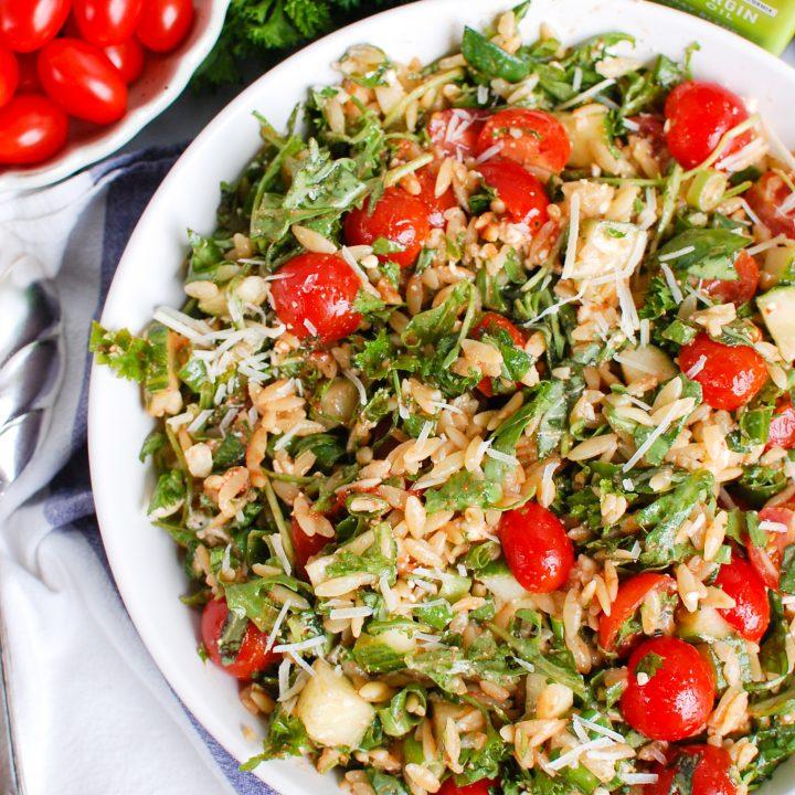Tomato Feta Orzo Salad in bowl