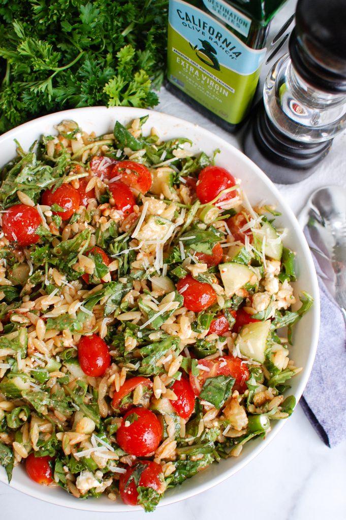Tomato Feta Orzo Salad with napkin