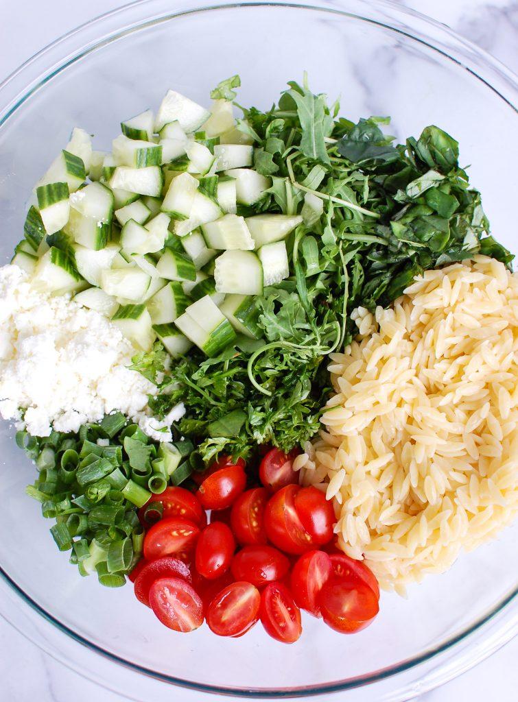 Tomato Feta Orzo Salad ingredients