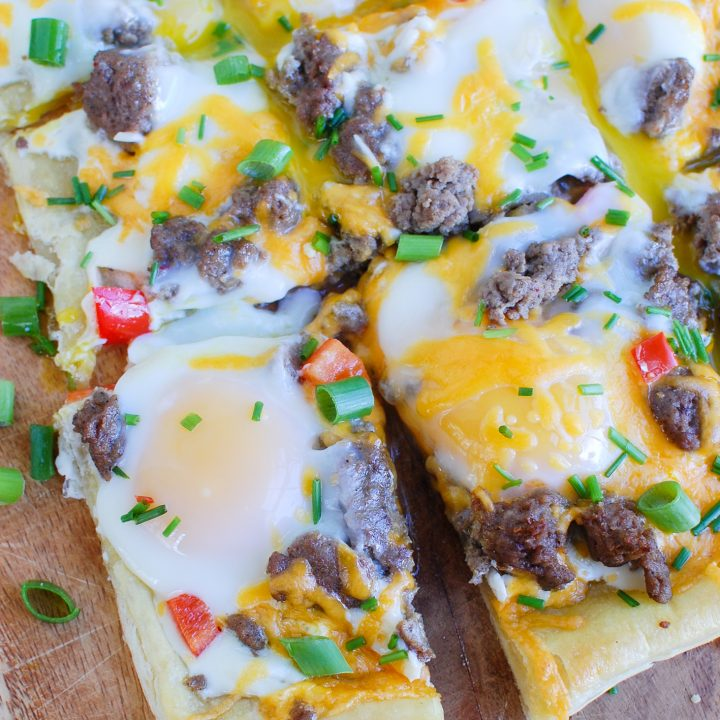 Turkey Sausage and Egg Puff Pastry Pizza cut