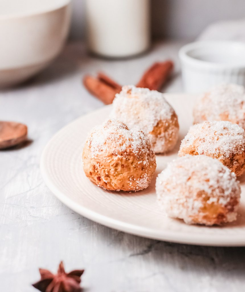 Air Fryer Donut Holes on a white plate