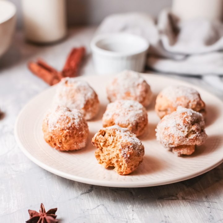 Air Fryer Donut Holes on white plate