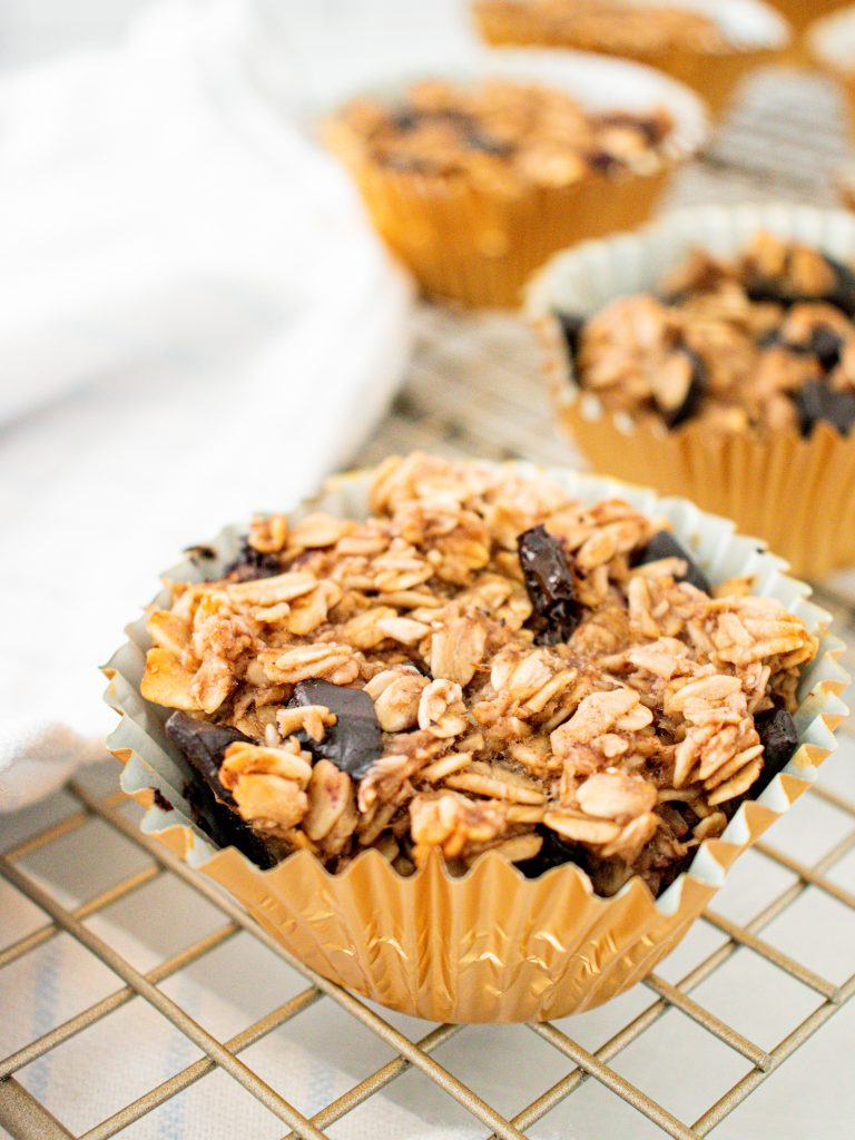 Banana Oatmeal Muffins in gold foil