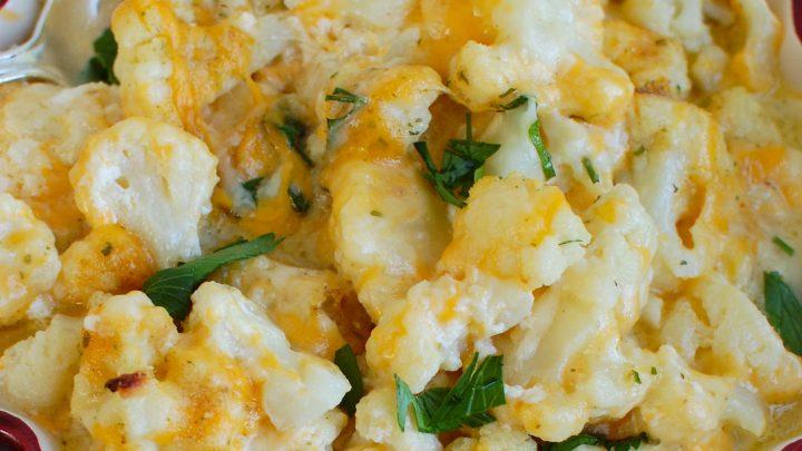 Cheesy Cauliflower in red dish