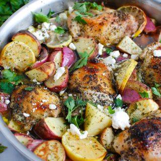 Greek Lemon Chicken in a skillet