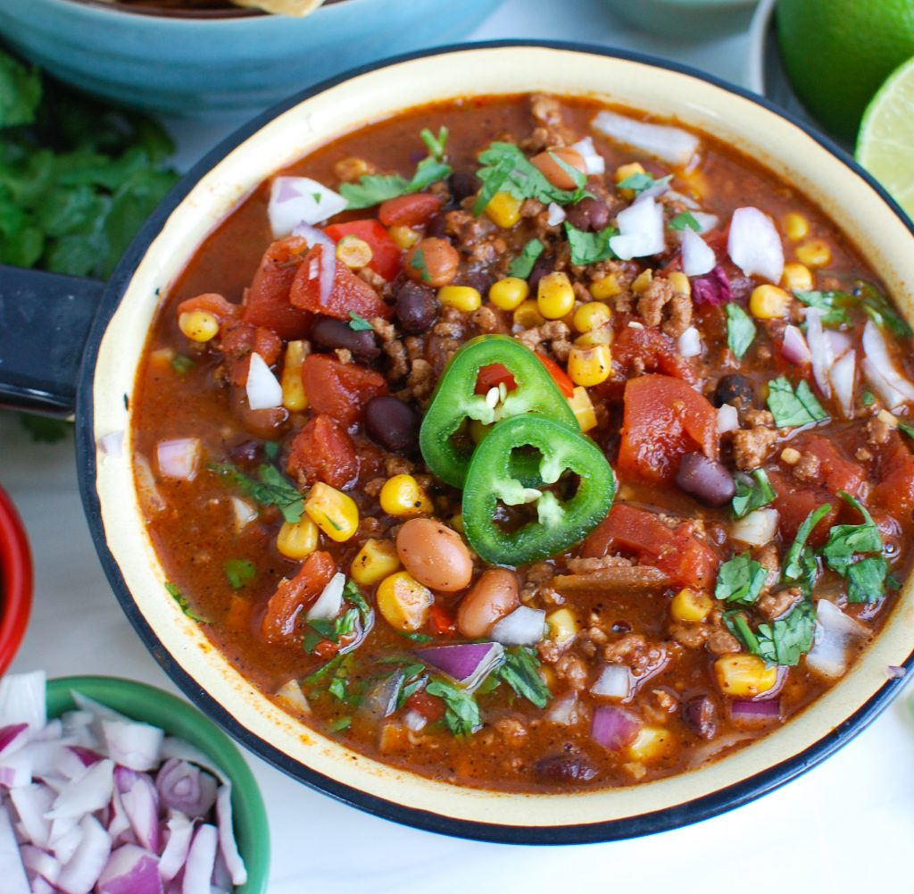 Easy Pork Chili with jalapeños