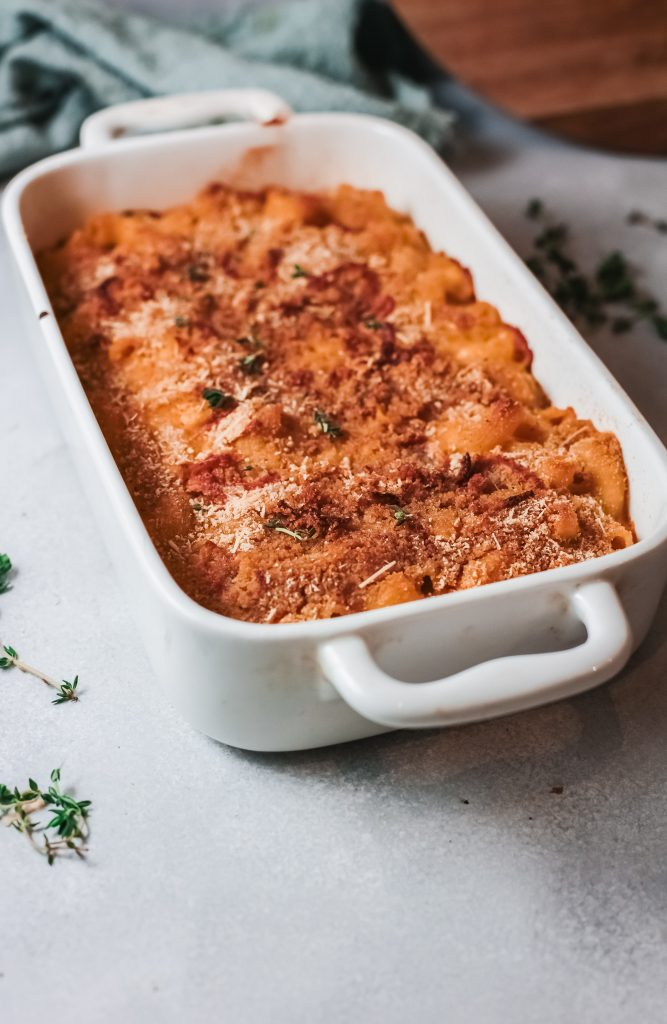 Pumpkin Mac and Cheese in white baking dish