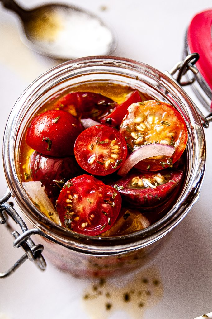 Simple Marinated Tomatoes in a jar