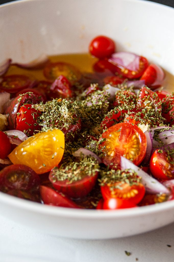 Simple Marinated Tomatoes with herbs