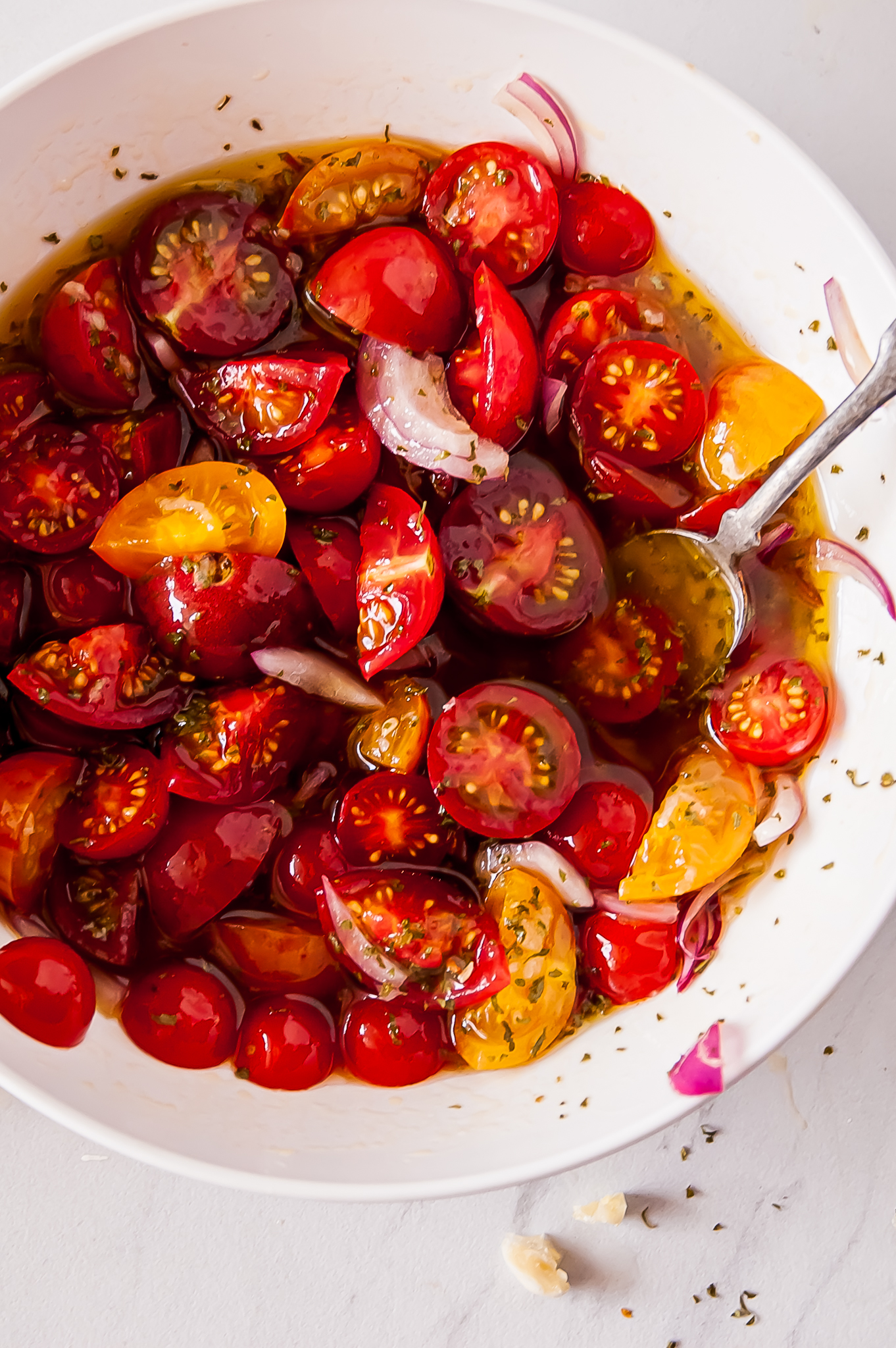 Simple Marinated Tomatoes in a bowl