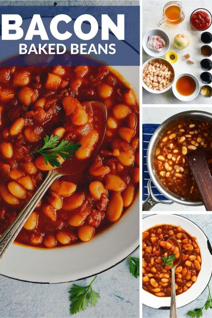 Easy Bacon Baked Beans with logo