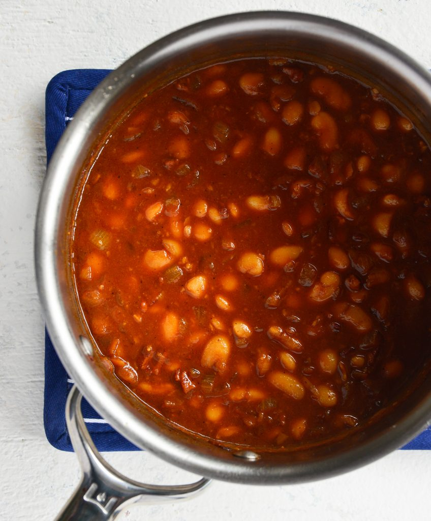 Easy Bacon Baked Beans above shot