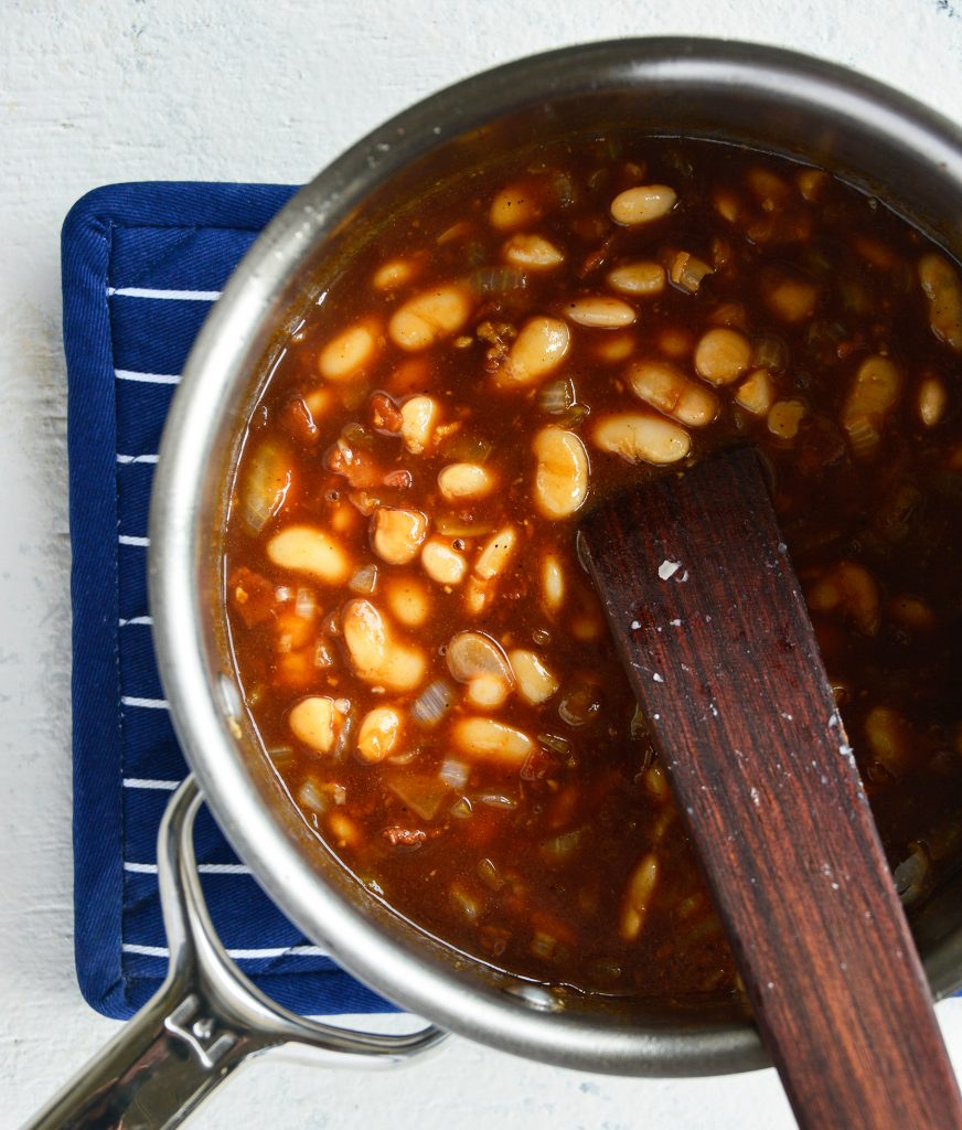 Easy Bacon Baked Beans with spoon