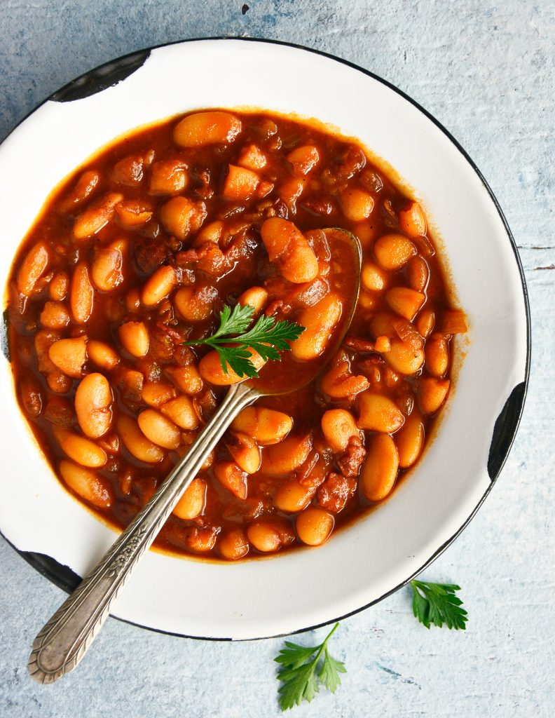Easy Bacon Baked Beans in bowl