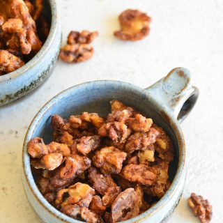 Easy Candied Walnuts in a teal bowl