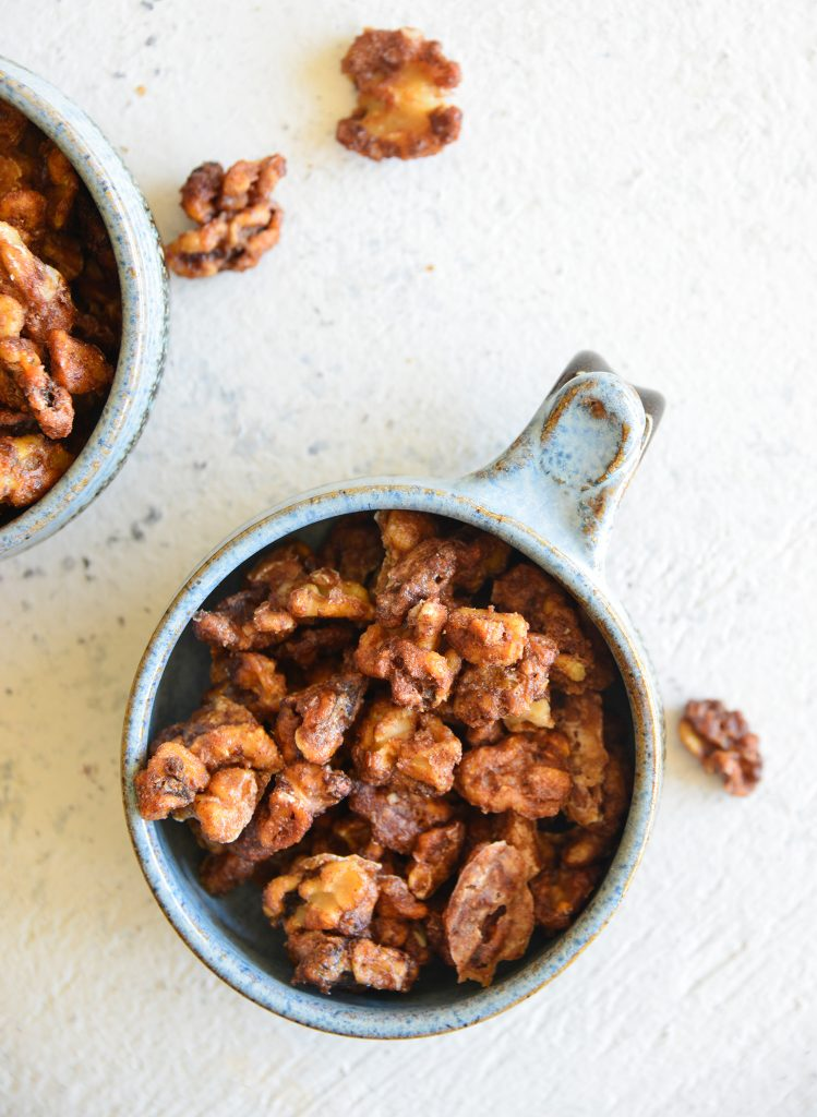 Easy Candied Walnuts above shot