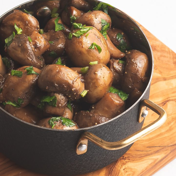 Garlic Sautéed Mushrooms in pot