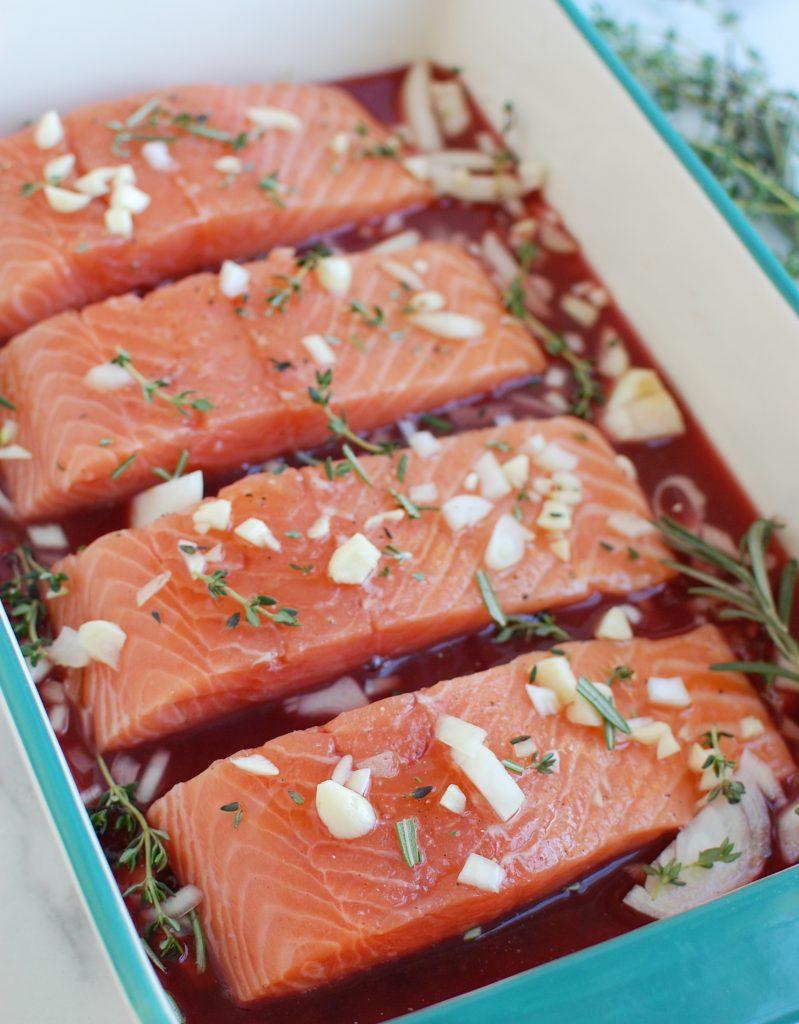 Honey Glazed Pomegranate Salmon with orange slice