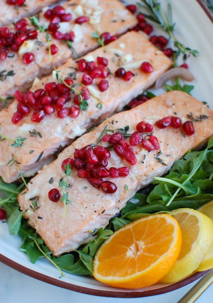 Honey Glazed Pomegranate Salmon with arugula