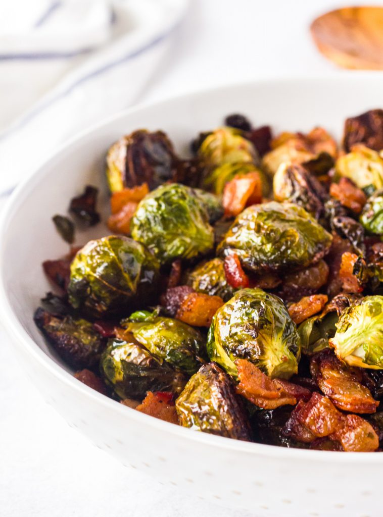 Roasted Brussels Sprouts with Bacon in bowl