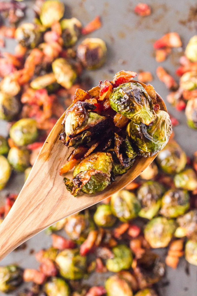 Roasted Brussels Sprouts with Bacon on spoon
