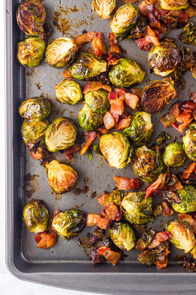 Roasted Brussels Sprouts with Bacon on a tray