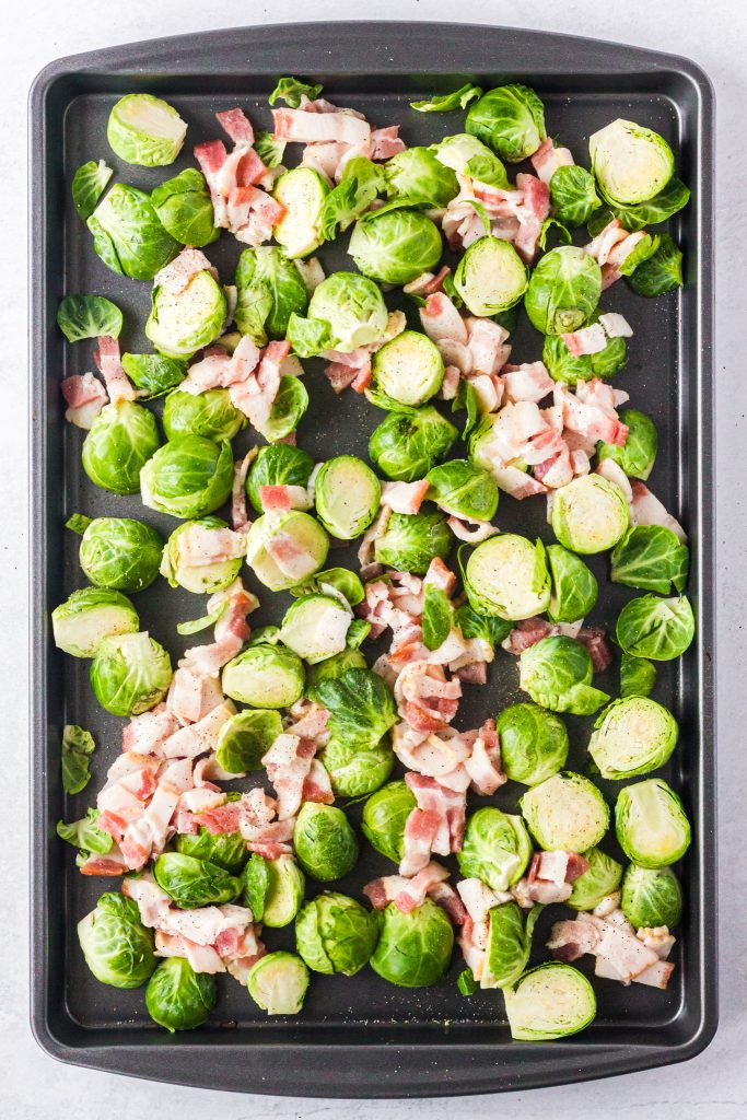 Roasted Brussels Sprouts with Bacon raw ingredients