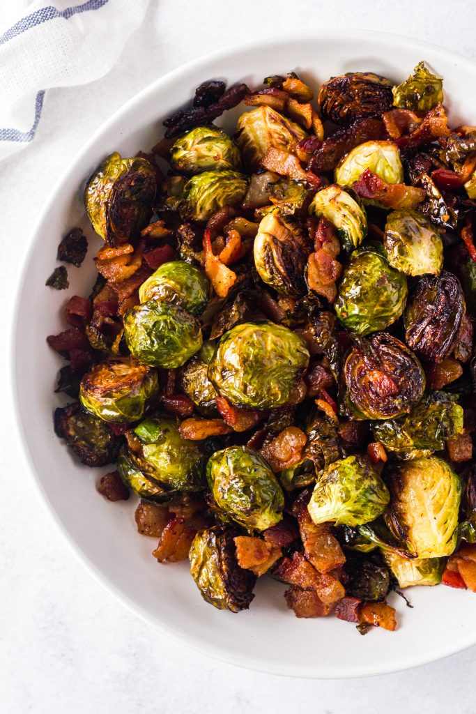 Roasted Brussels Sprouts with Bacon in white bowl