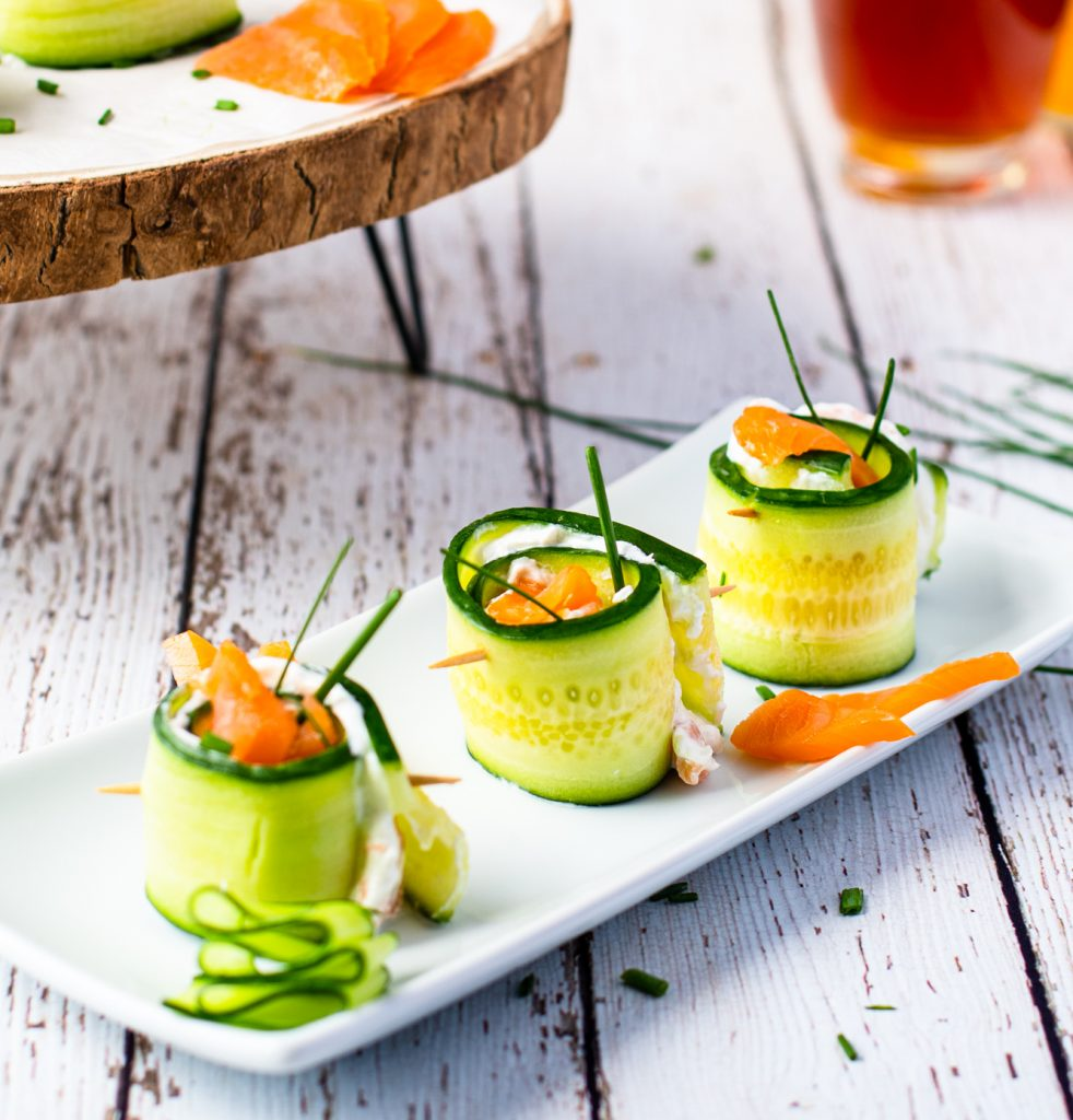 Smoked Salmon Cucumber Appetizer Bites on white plate