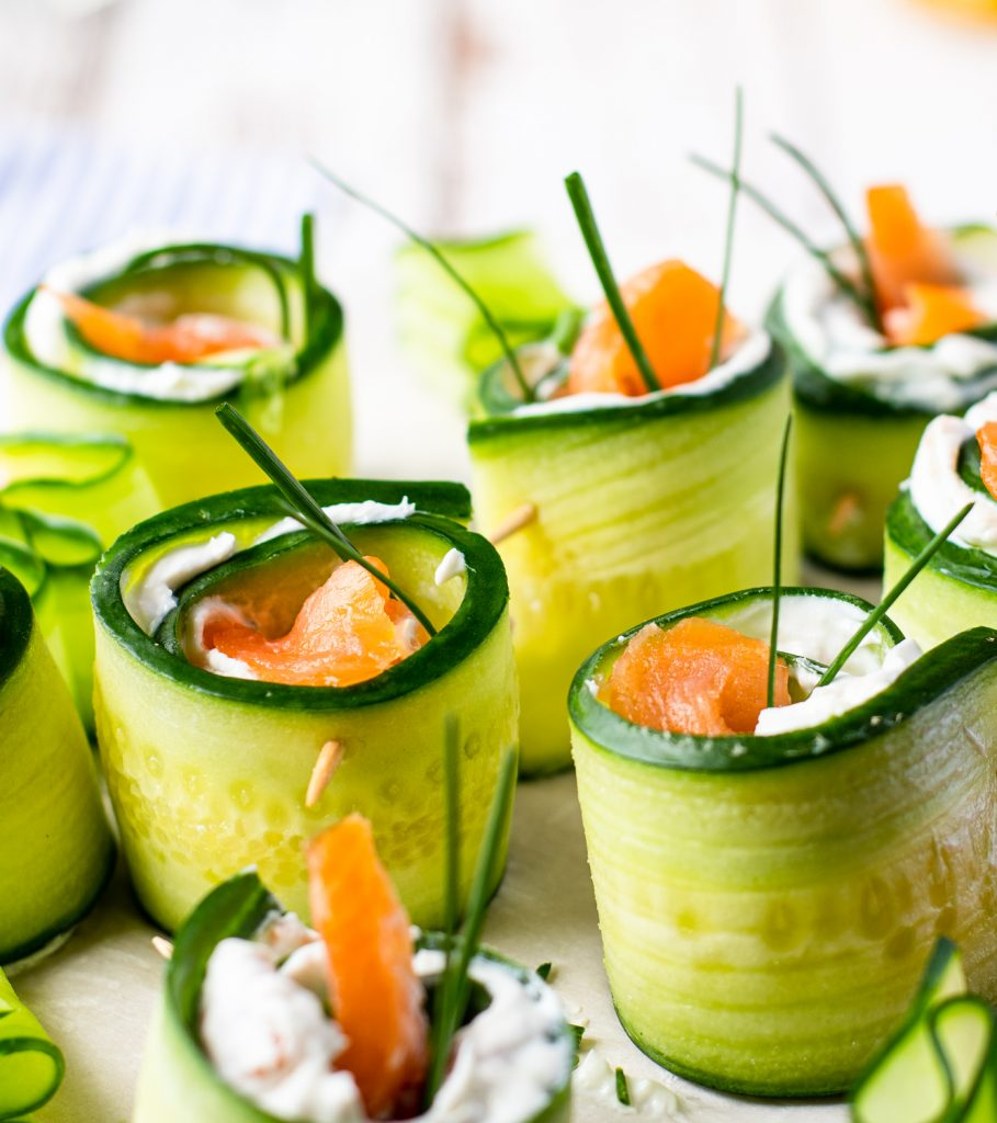 Smoked Salmon Cucumber Appetizer Bites on plate