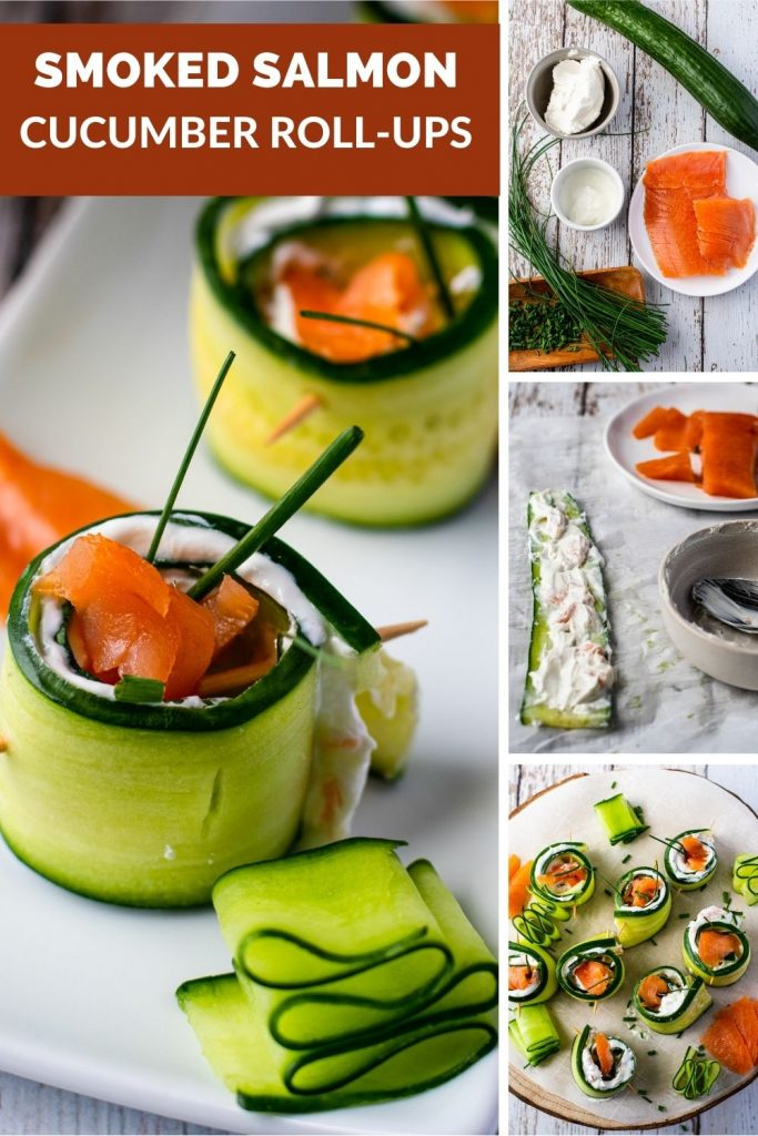 Smoked Salmon Cucumber Appetizer Bites with logo