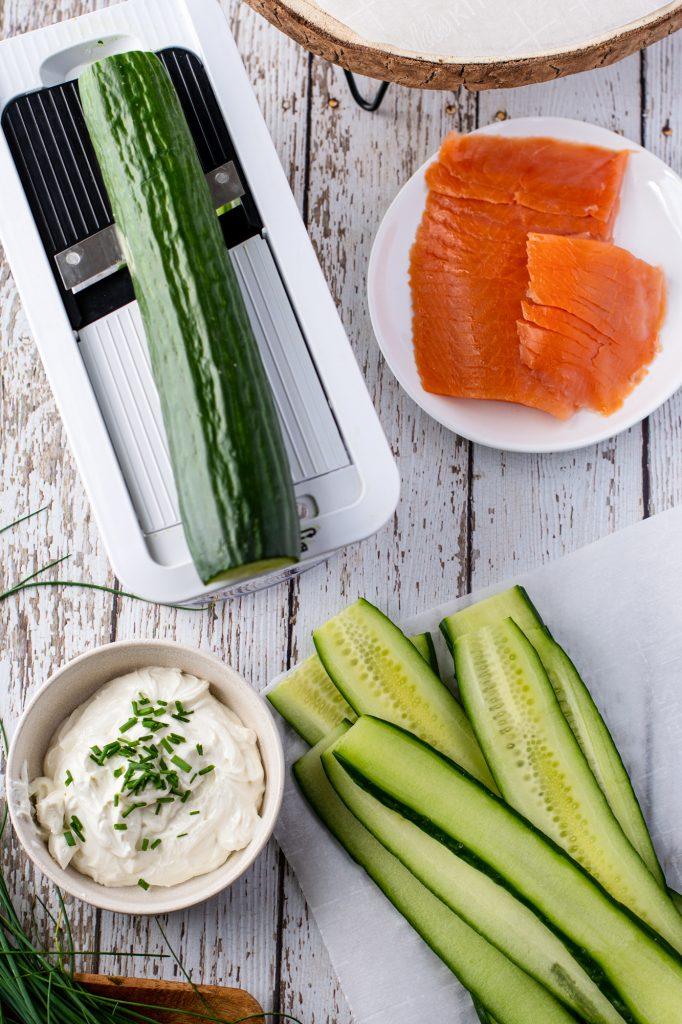 Smoked Salmon Cucumber Appetizer Bites ingredients