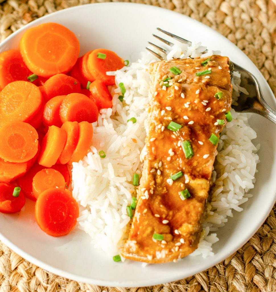 Teryaki Salmon Recipe with carrots