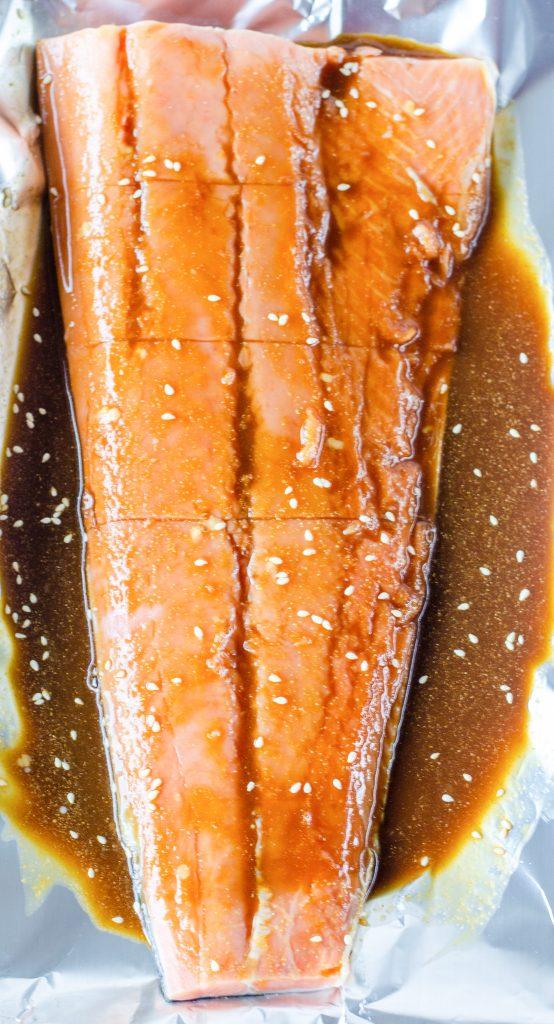Teryaki Salmon Recipe raw with marinade