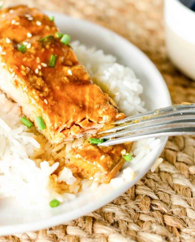Teryaki Salmon Recipe with fork