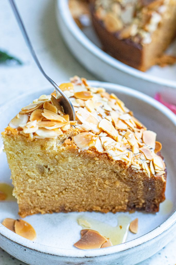 Almond Cake Recipe with fork