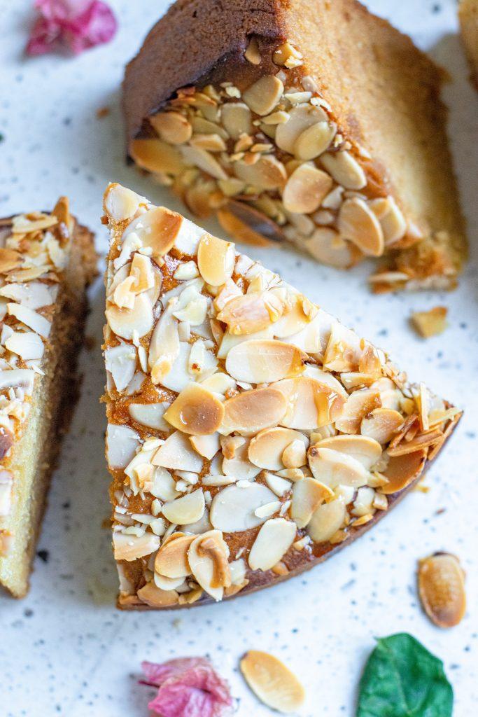 Almond Cake Recipe slice of cake