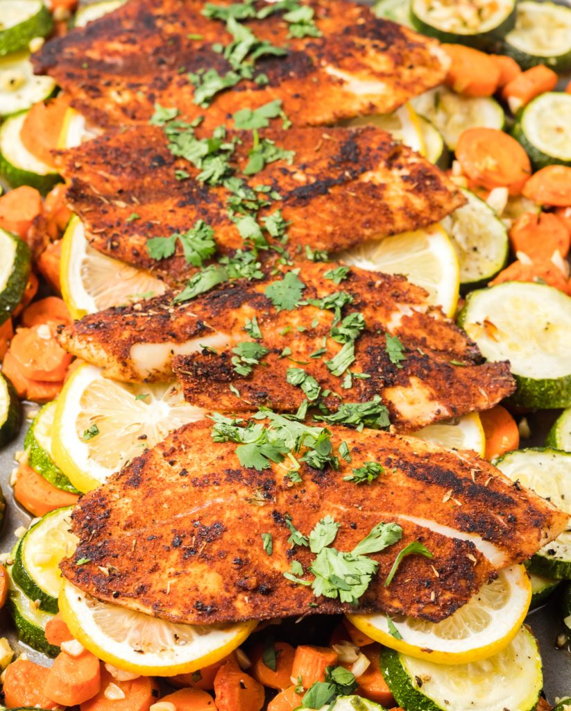 Easy Blackened Fish on tray
