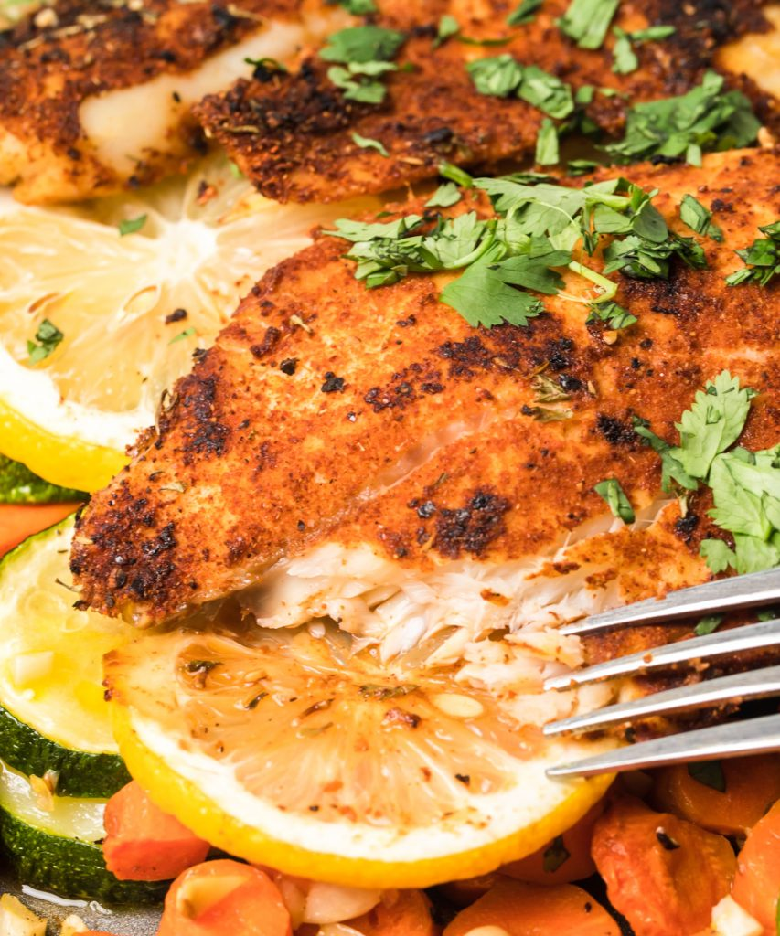 Easy Blackened Fish with fork