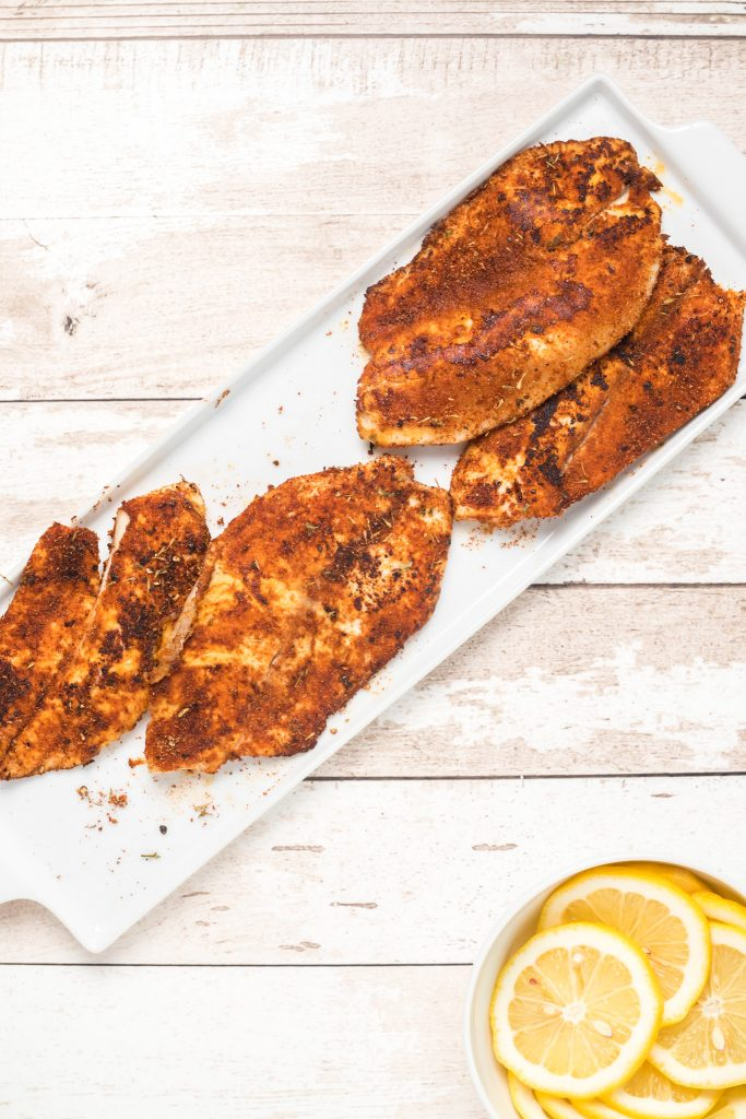 Easy Blackened Fish on platter