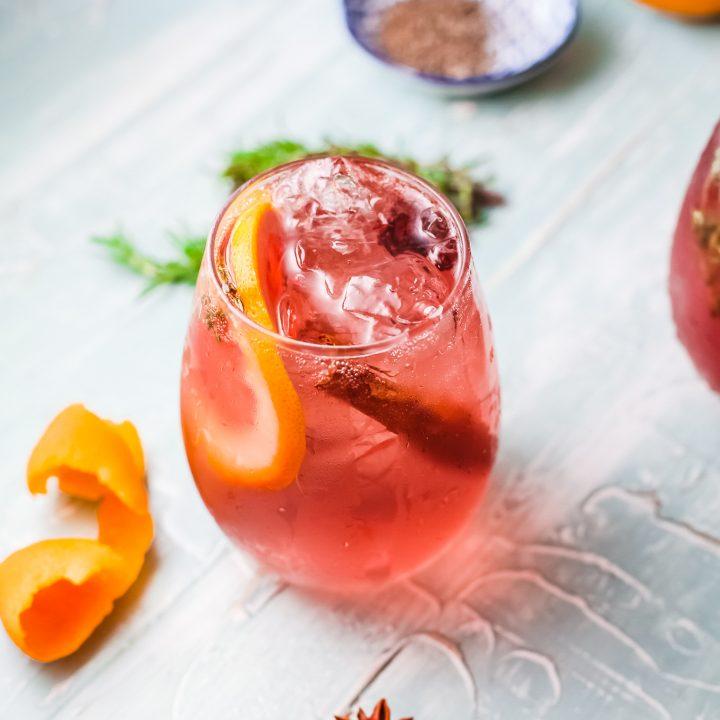 Cranberry Wine Spritzer in glass