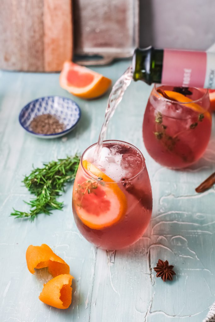 Cranberry Wine Spritzer with champagne