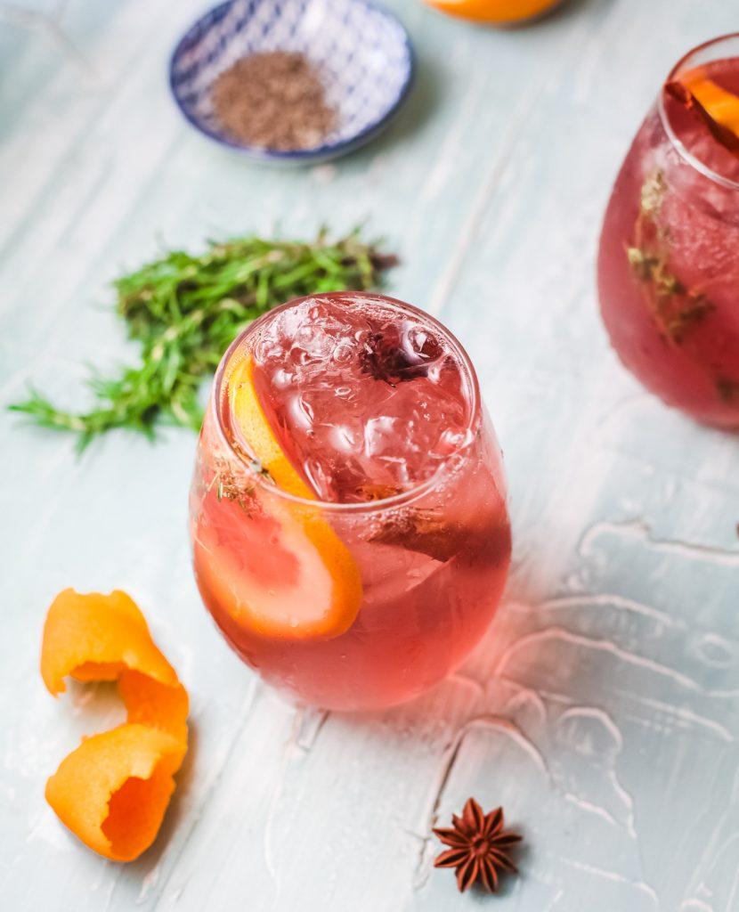 Cranberry Wine Spritzer with orange slices
