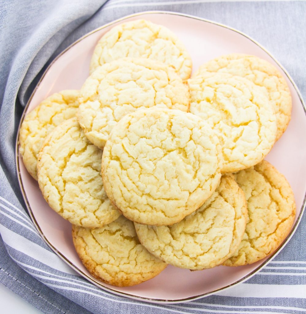 Easy Cake Mix Sugar Cookies on pink plate
