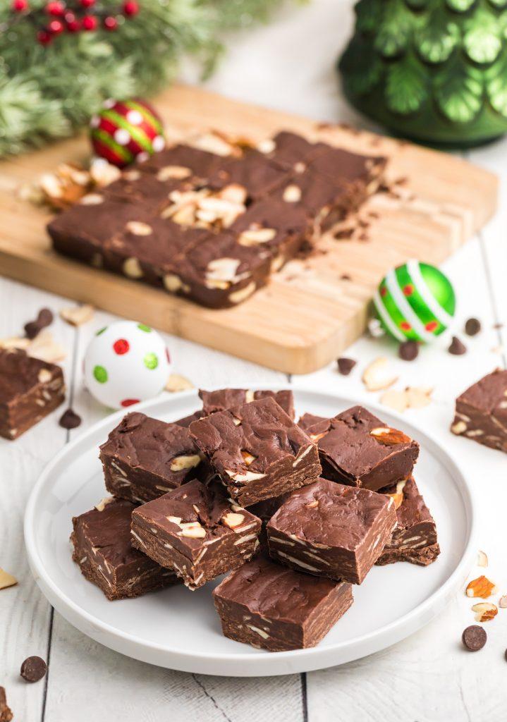 Easy Chocolate Fudge on plate