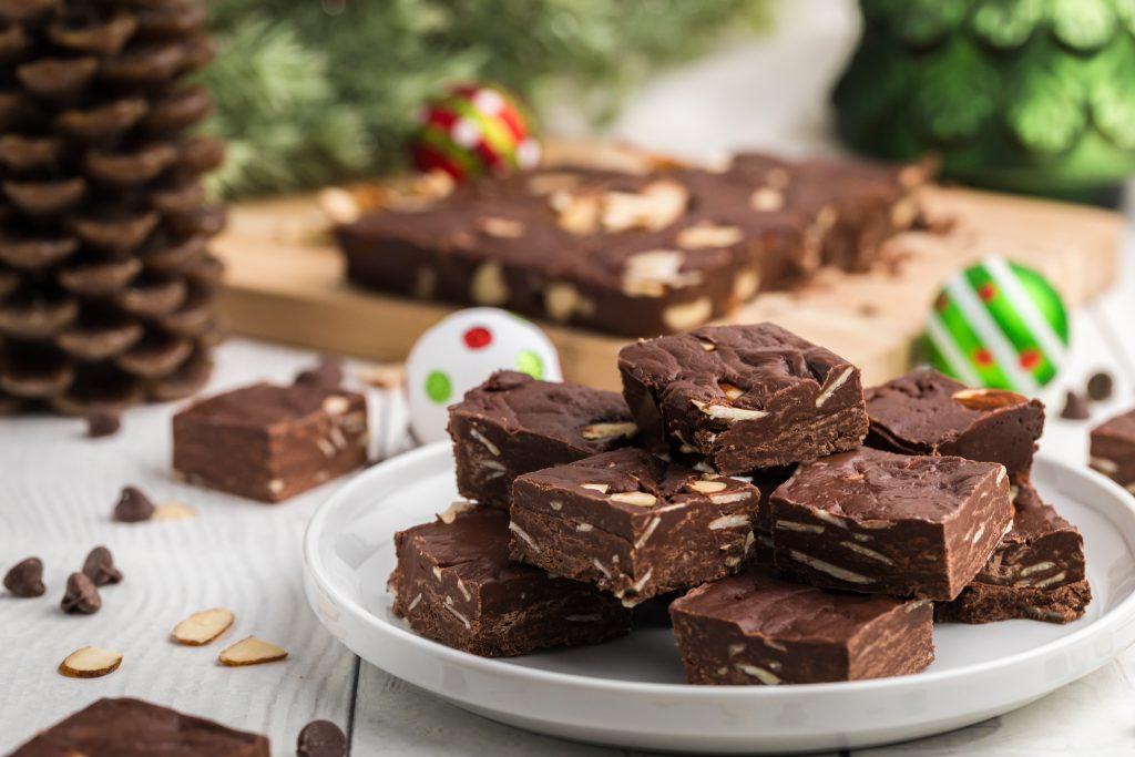 Easy Chocolate Fudge on white plate