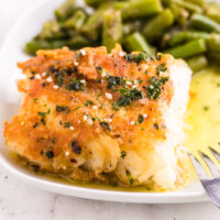 Pan Fried Garlic Butter Cod on dish