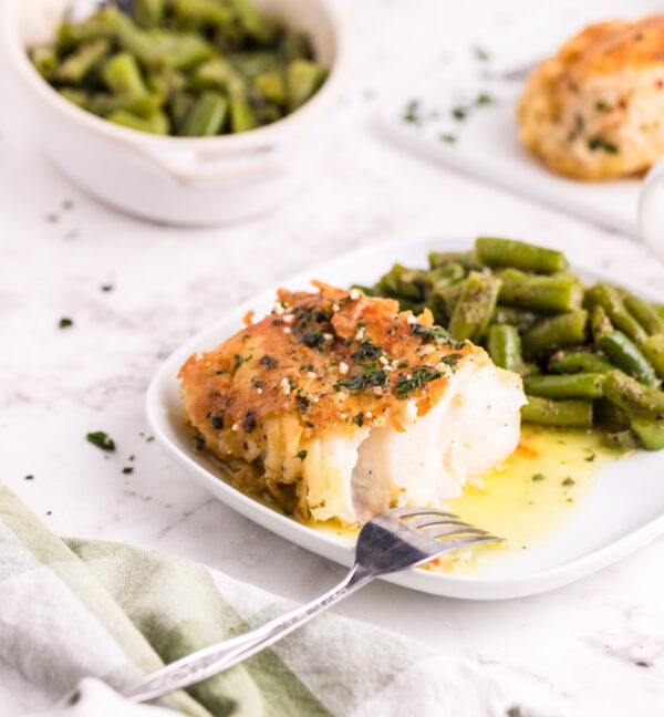 Pan Fried Garlic Butter Cod with fork