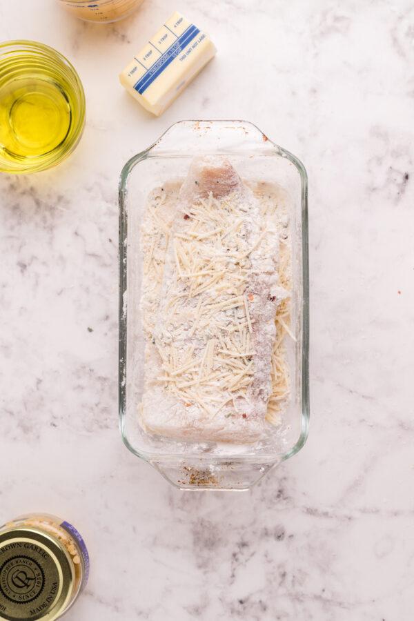 Pan Fried Garlic Butter Cod in pan