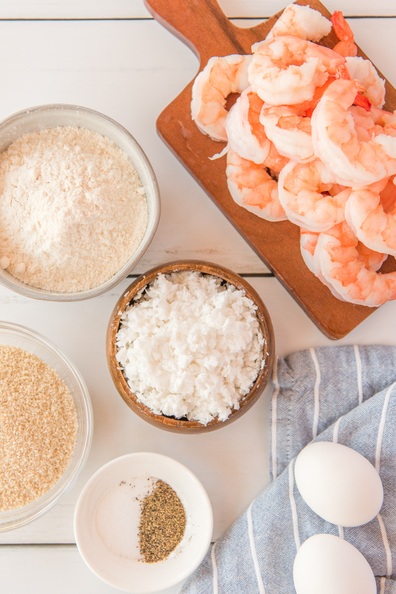 Air Fryer Coconut Shrimp ingredients laid out.
